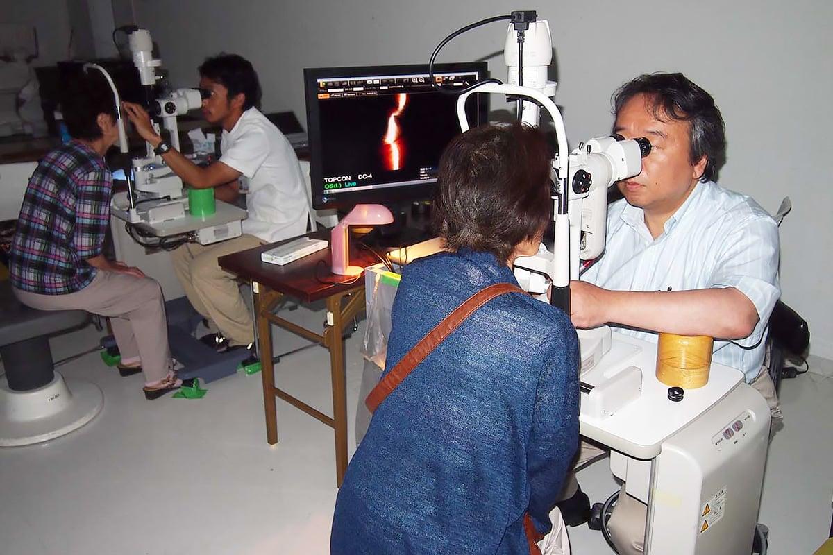 仮設住宅の住民を対象に金沢医大が実施した眼科の無料検診