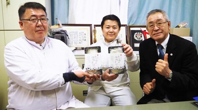 「いわて南部地粉そば」を開発した川喜の川端實会長、菊池敬太部長、原田秀範常務