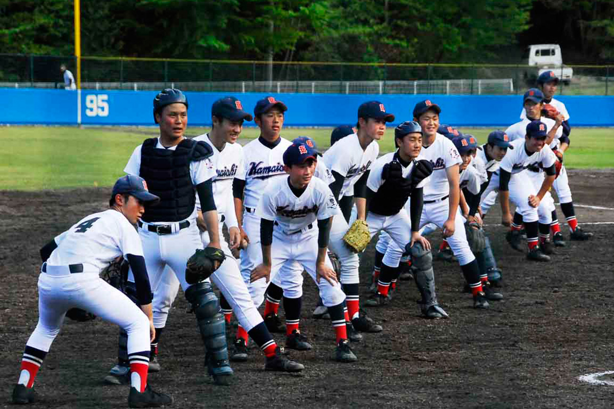 高田に敗れたものの、第2代表で県大会への出場を決めた釜石商工ナイン