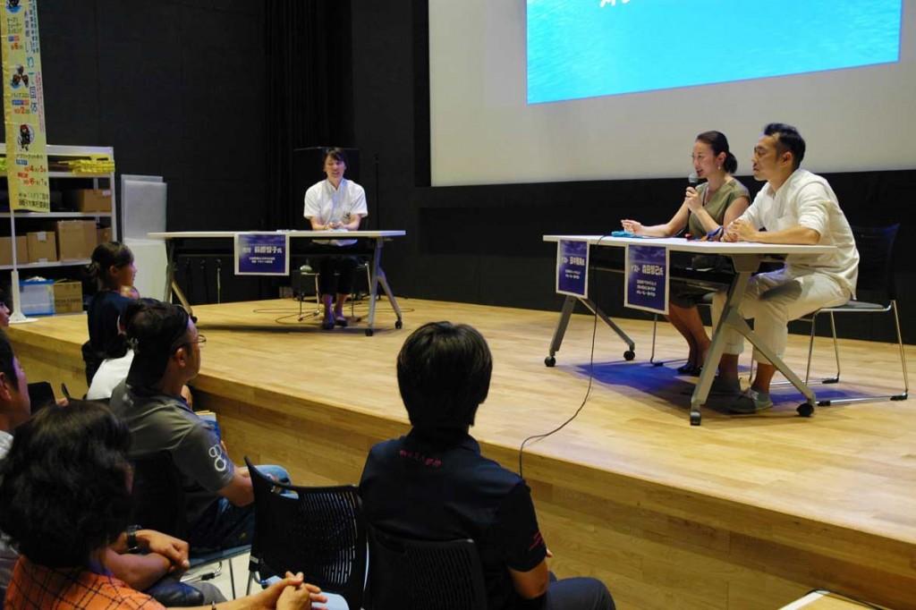 来場者の質問にも答え、市民らと交流を深めた元日本代表のトークショー