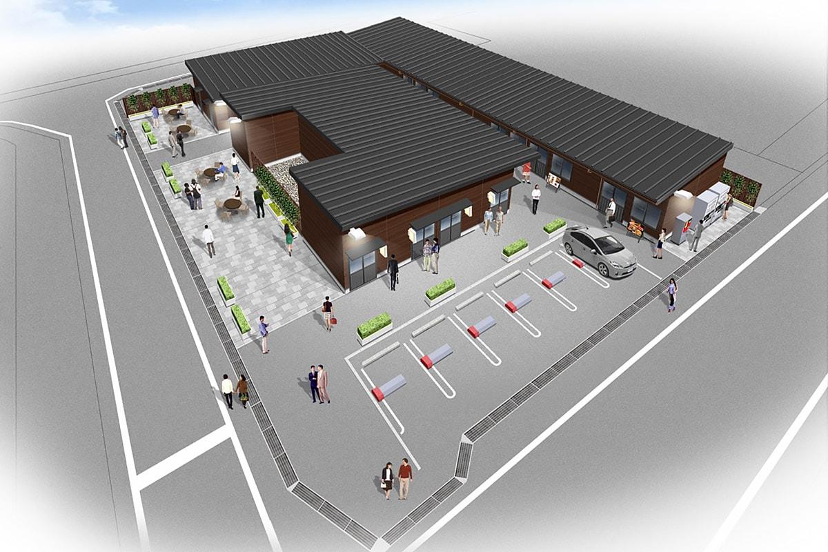 新しい憩いの場に期待される飲食店街の完成予想図