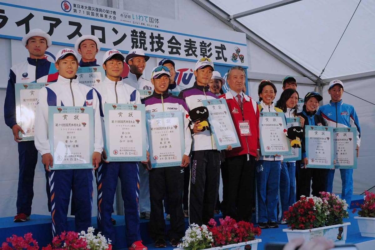 記念すべき正式競技第1回大会で見事、入賞を果たした男女の選手ら