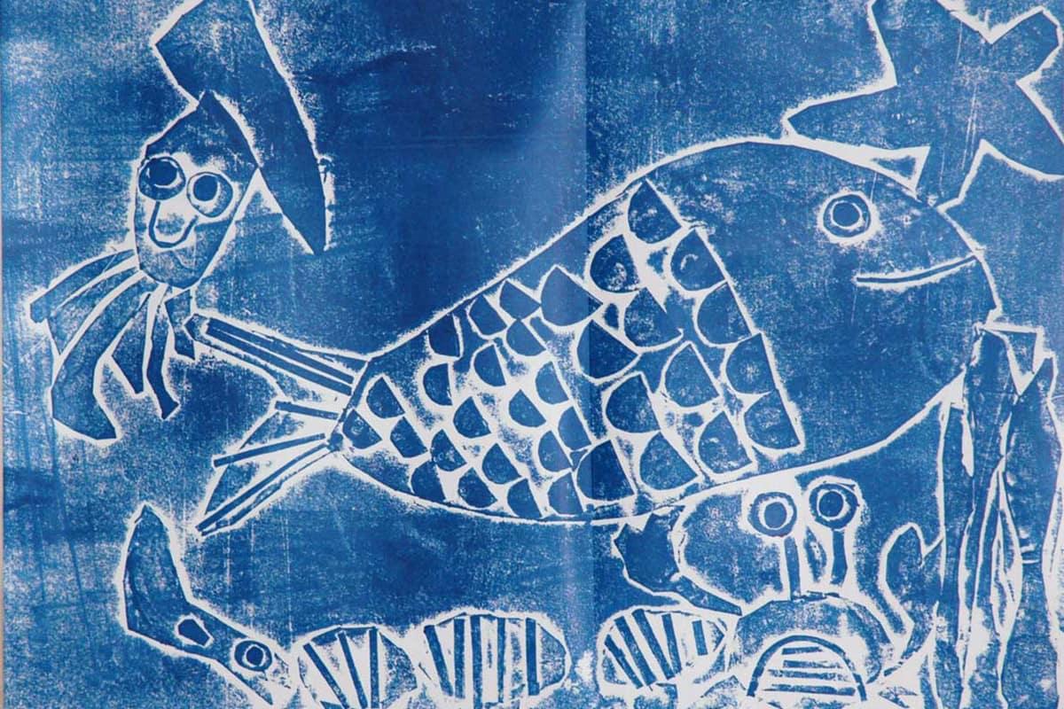 石黒亜季ちゃん(甲東こども園)の版画「海のいきもの」