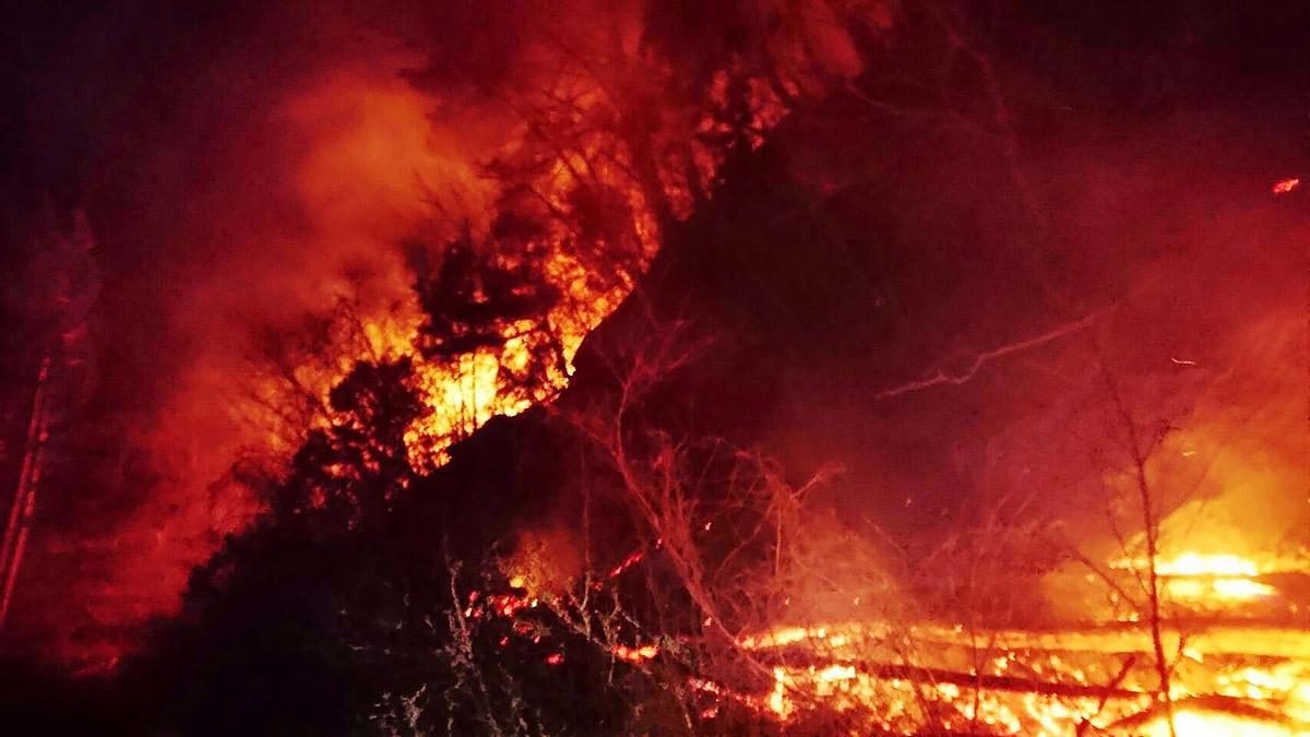 燃え広がる山林火災=28日午後6時53分(釜石大槌地区行政事務組合消防本部提供)
