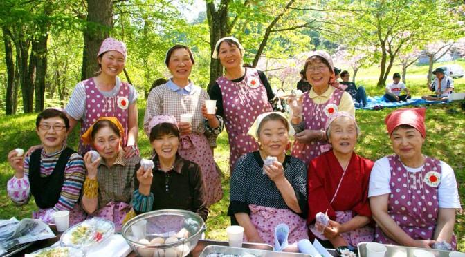 満開の八重桜の下で、季節感たっぷりの郷土料理を味わう研究会のメンバー=橋野町青ノ木で