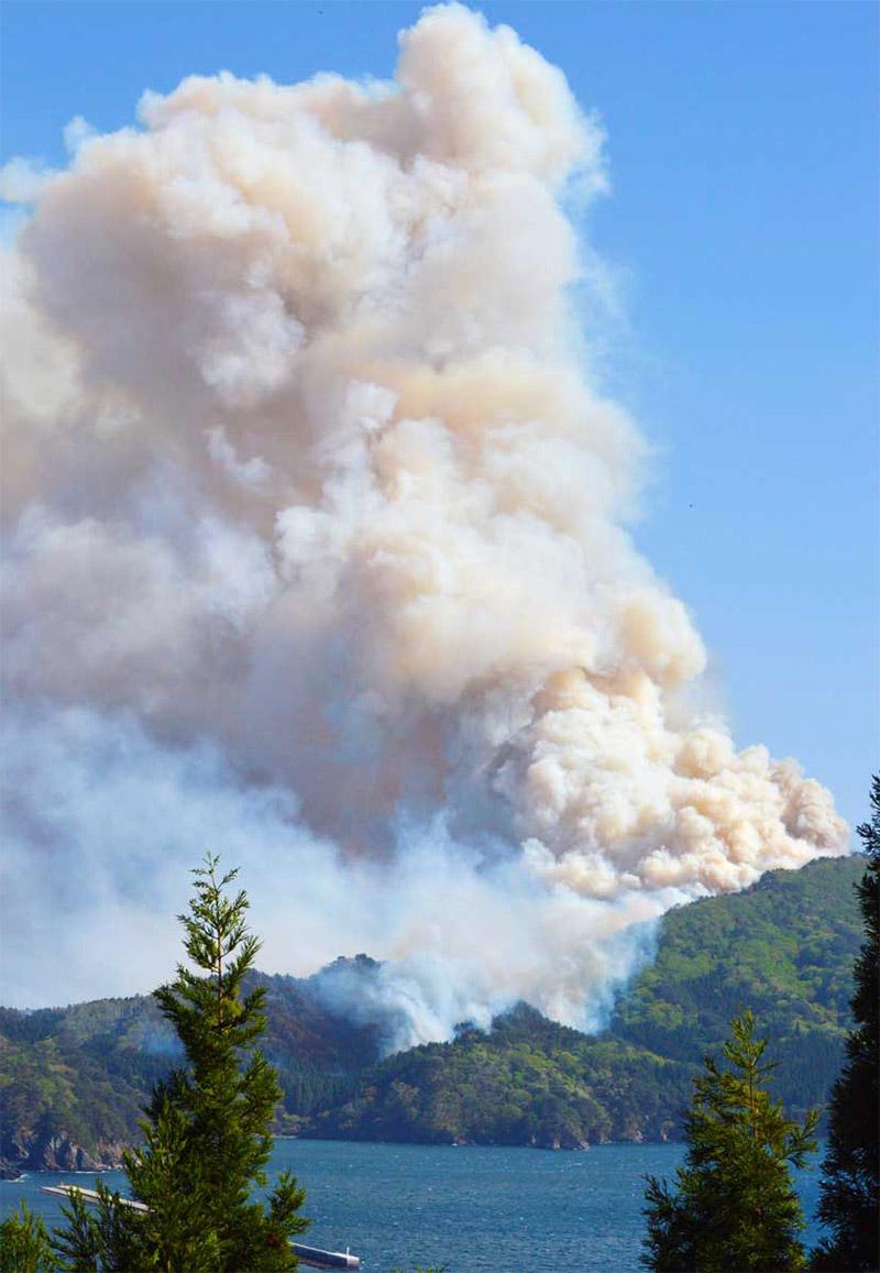 強風を受け、尾崎半島の各所から火煙が高く立ち上り、西側の集落にも迫る=8日午後2時49分
