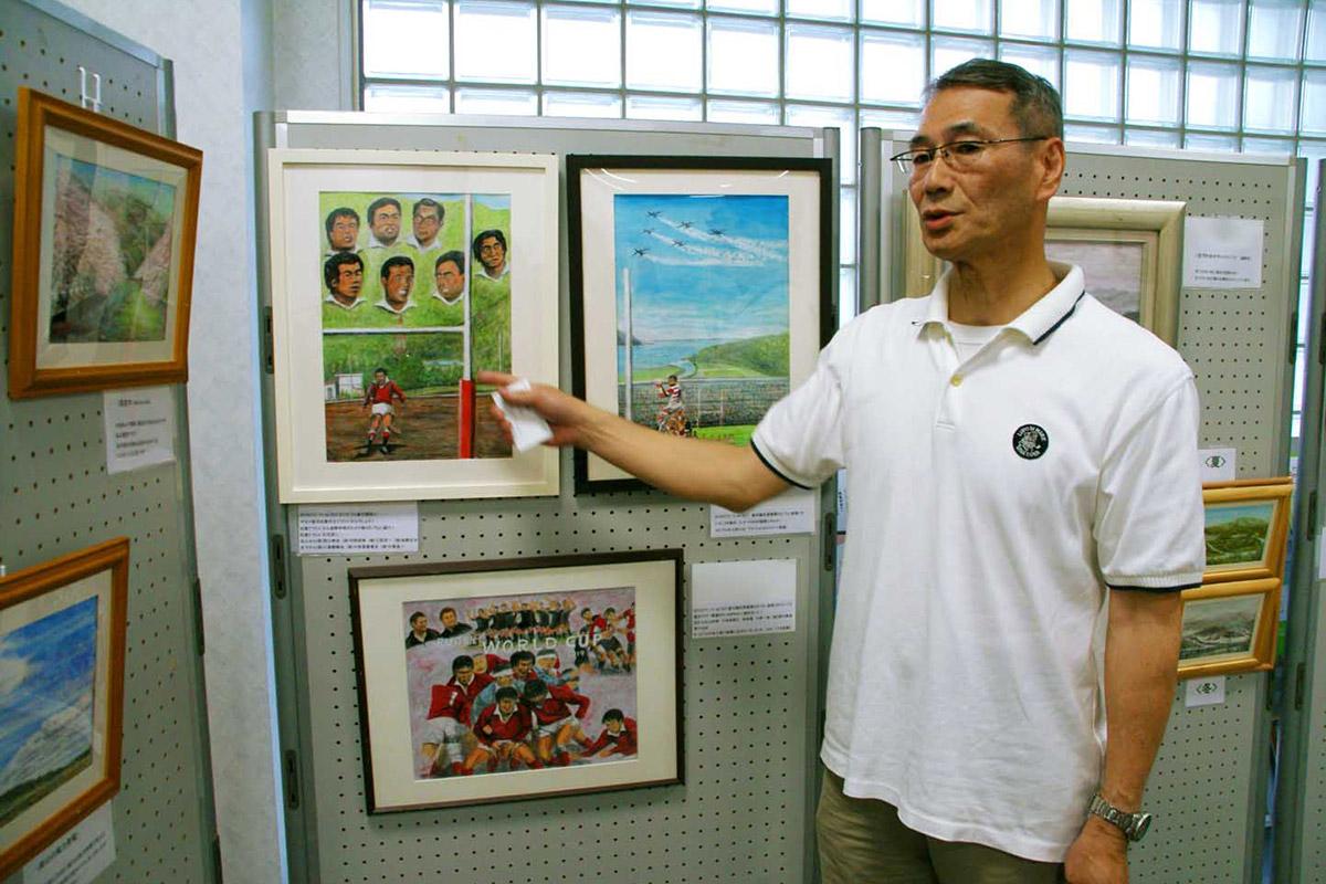 ラグビーW杯を盛り上げようと、「ラグビー応援画」を描いた石丸昌宏さん