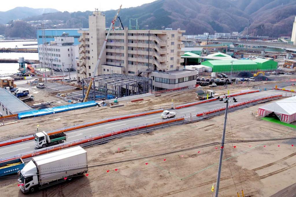 釜石市で最後の着工となる浜町復興公営住宅の建設地