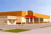 スーパーが核店舗となった複合型商業施設の外観イメージ