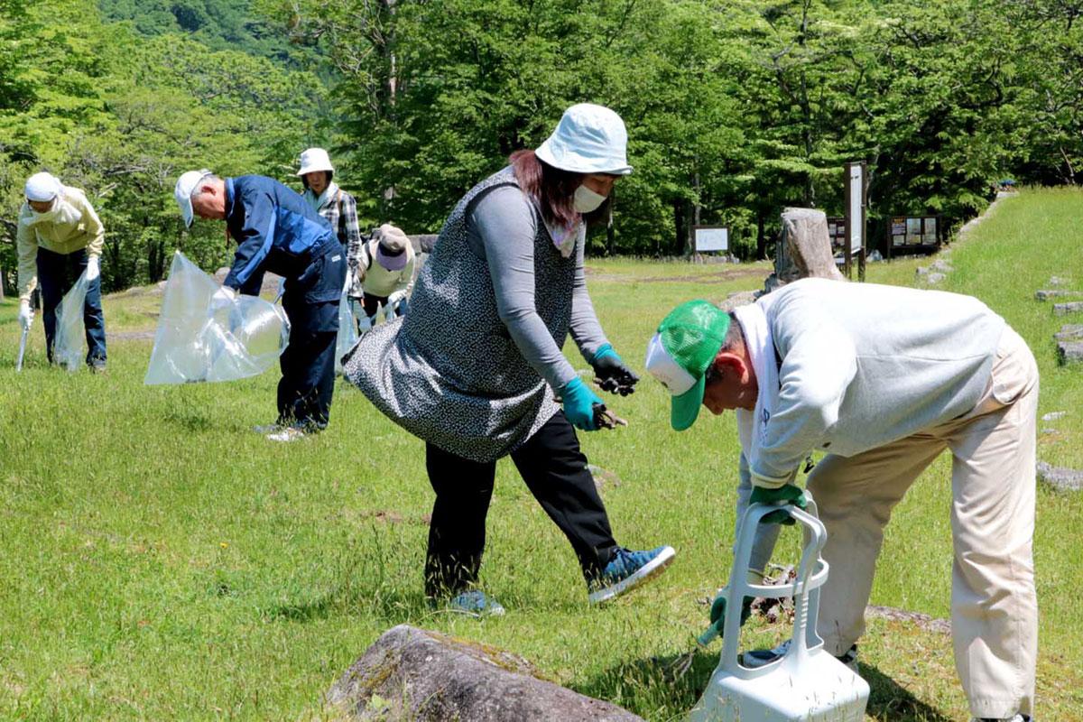 橋野高炉跡の遺跡内で清掃活動に励む市民ら