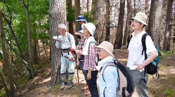 山林火災の跡をたどり、植生や森林の再生について理解を深めた参加者(左端は鈴木会長)
