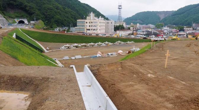 釜石市新町に建設が進む釜石中央IC