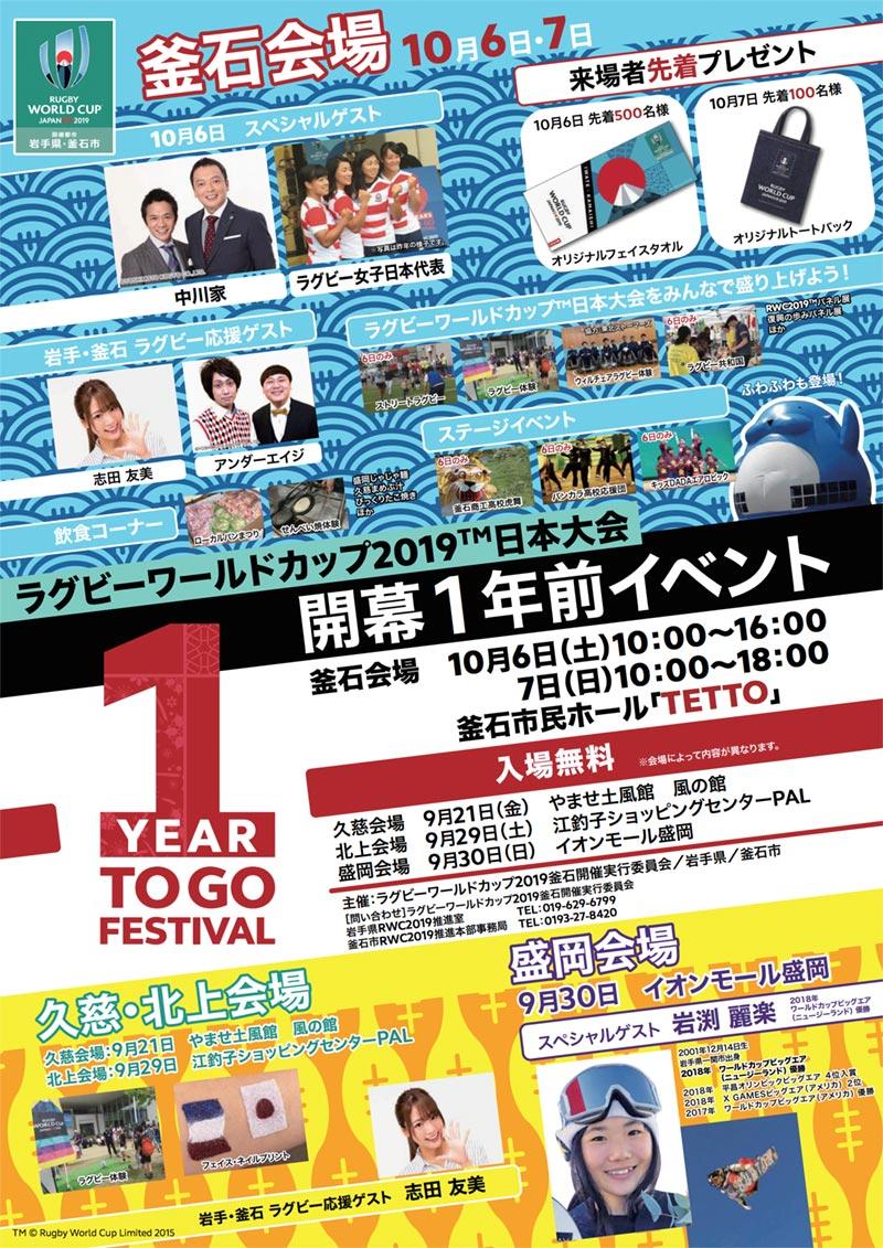 ラグビーワールドカップ2019(TM)日本大会開幕1年前イベント