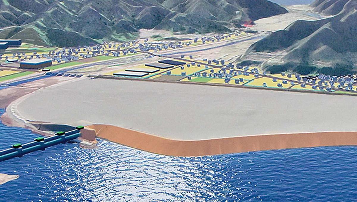 片岸海岸防潮堤と鵜住居川水門の完成イメージ