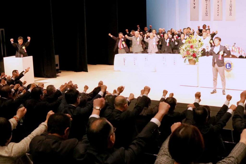 式典を締めくくった「ライオンズローア」。リアスLCのさらなる発展へ気勢を上げた