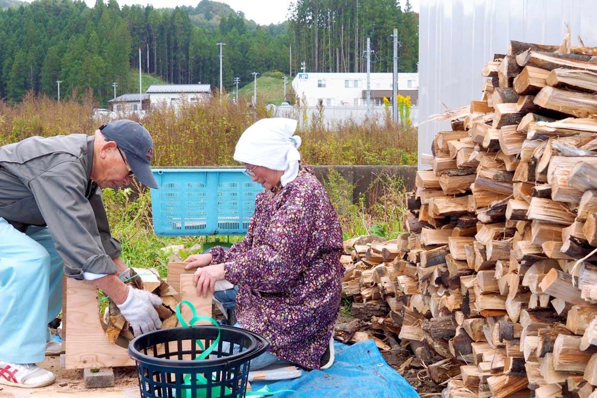 箱崎町の加工場でまきづくりに取り組む高齢者