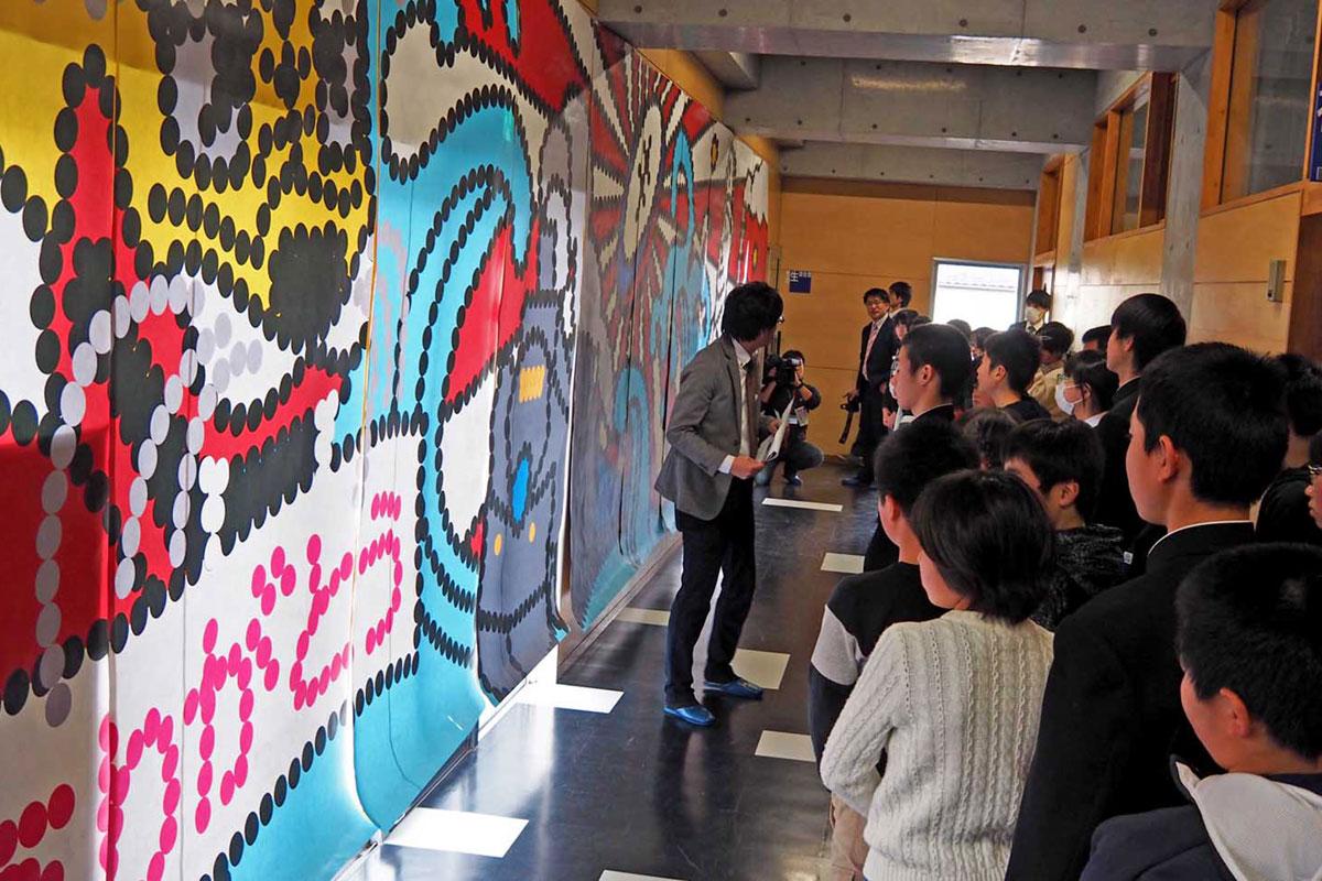 巨大壁画デザインに製作意欲を高める児童生徒