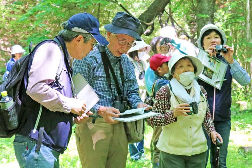 釜石野鳥の会の会員に教わりながら野鳥観察を楽しむ参加者