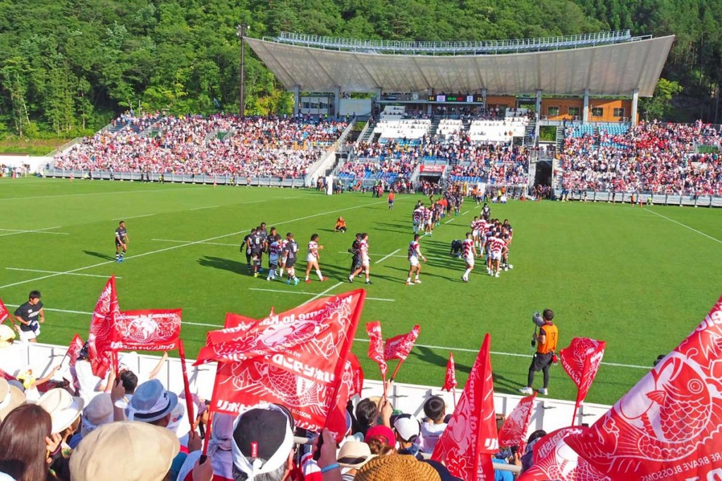日本−フィジーの激闘に沸く釜石鵜住居復興スタジアム