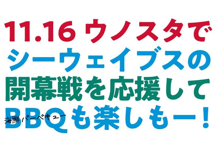 11.16ウノスタ 手ぶらで観戦!海鮮!BBQ