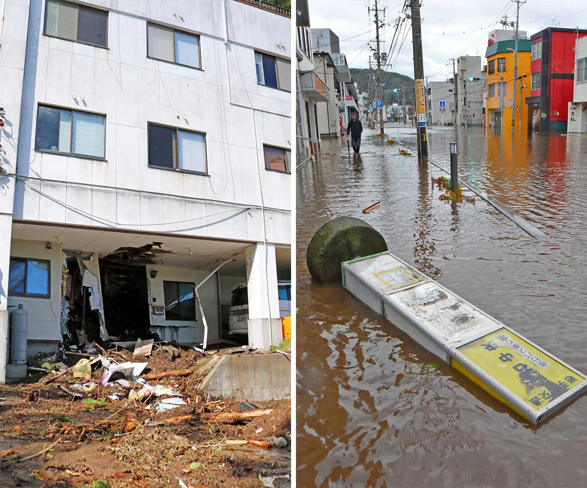 建物を突き抜けた土砂が流れ出た片岸町室浜の民宿(左)、水につかった大町の目抜き通り。バス停の看板も倒れ(右)