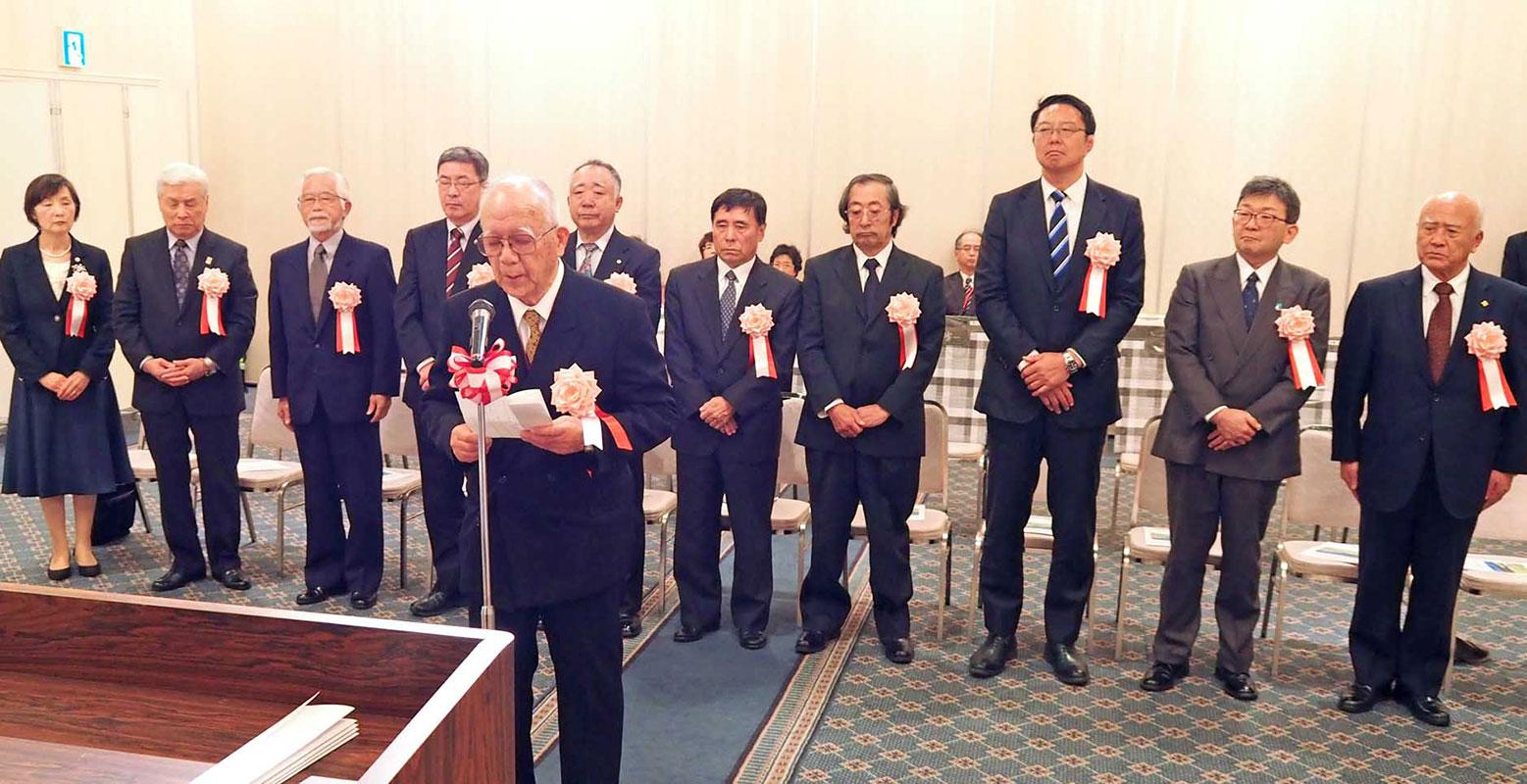 市勢功労者を代表し謝辞を述べる小野寺哲さん
