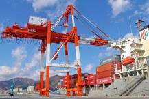 ポート・オブ・ザ・イヤー2019を受賞した釜石港。ガントリークレーンの導入で物流が飛躍的に伸びている