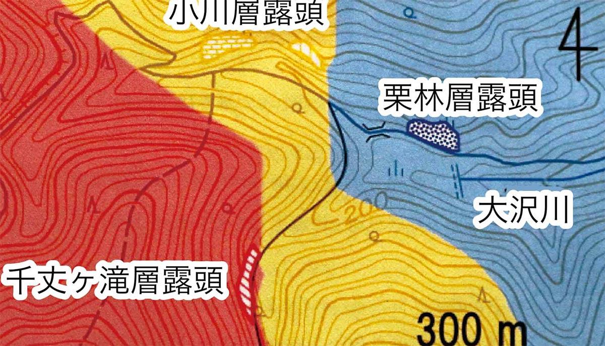 観察会で訪れた各地層の地質図概略