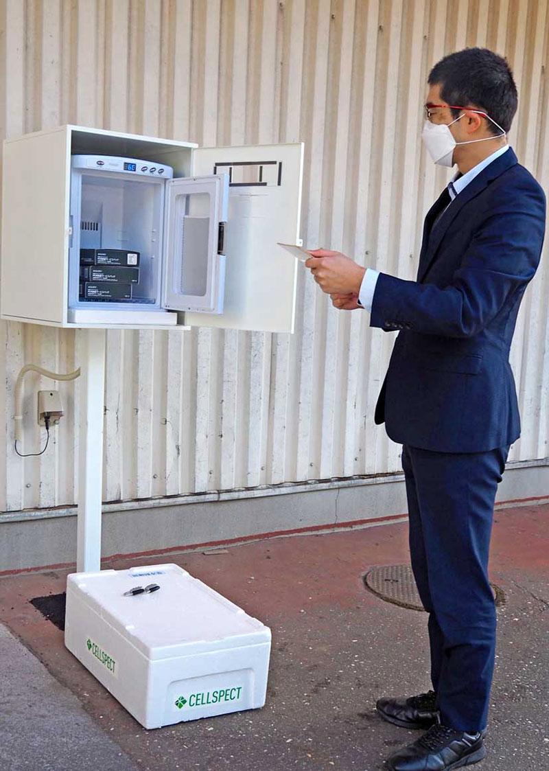 薬王堂釜石小佐野店に設置された自費PCR検査サービスの受付スポット
