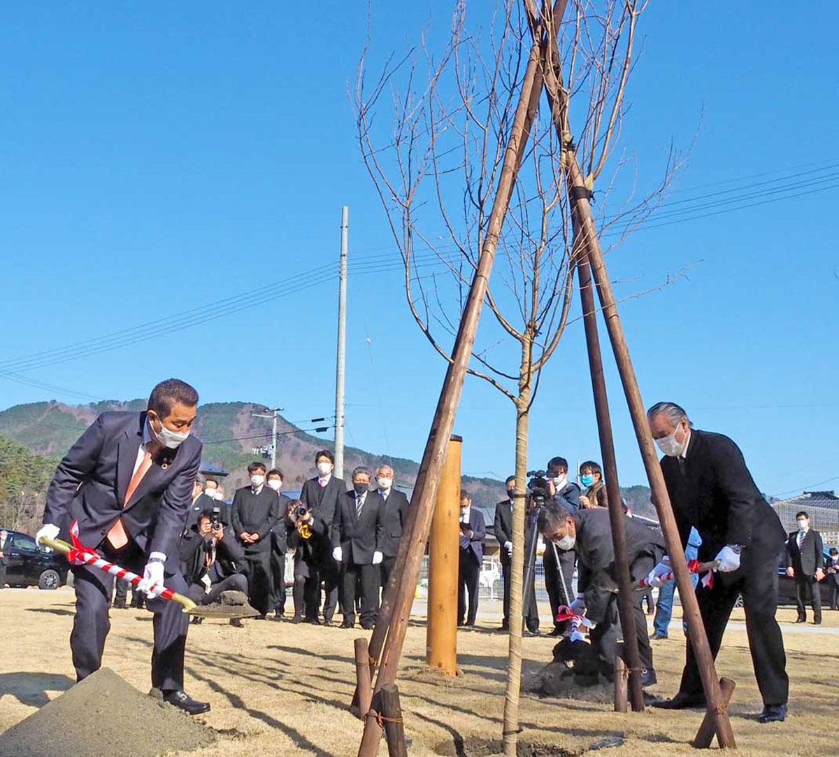 平田地区に完成した「なみたき公園」で桜を植える鈴木東海市長(左)、野田釜石市長(右)