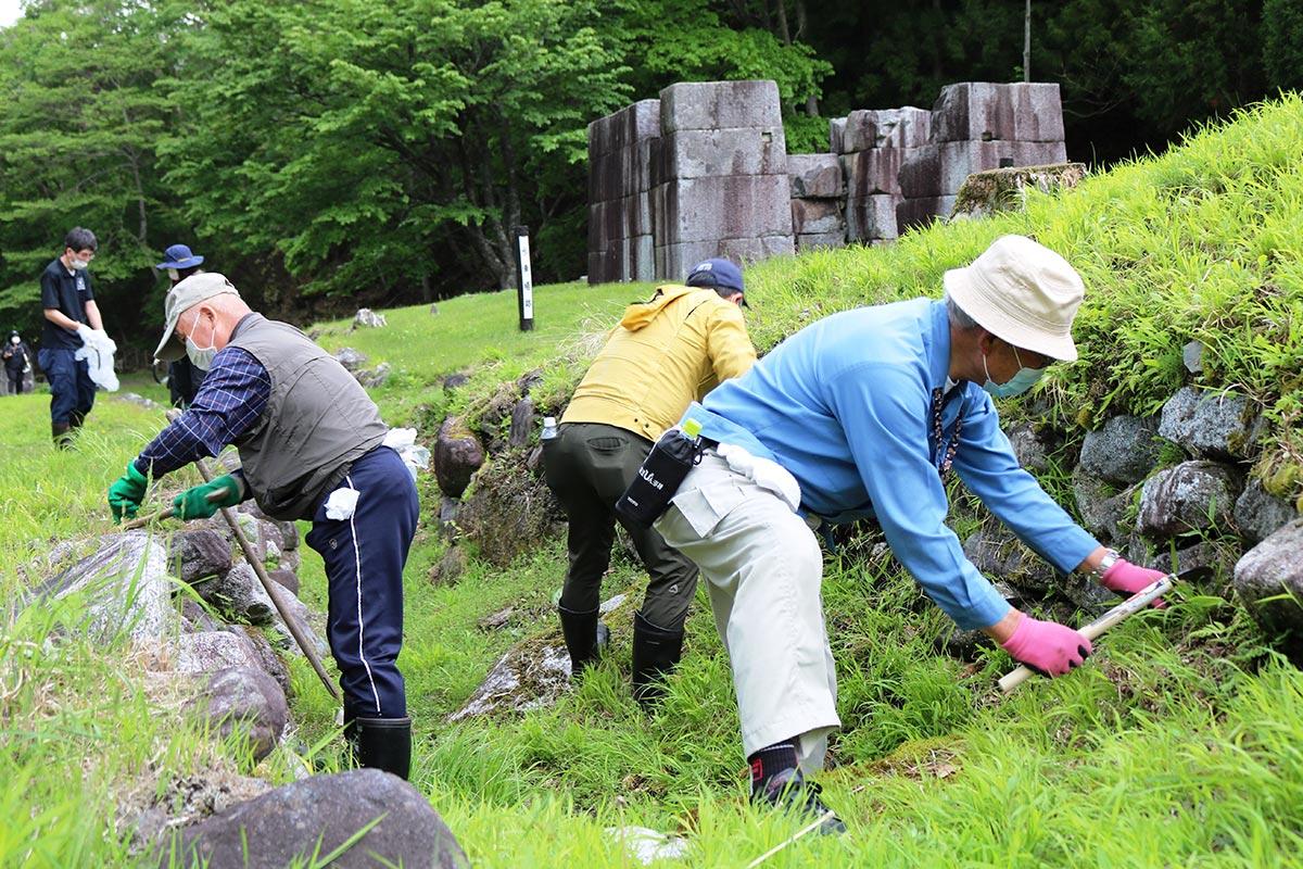 水路の石垣の間から生える草を刈り、遺跡が見えやすいように整備