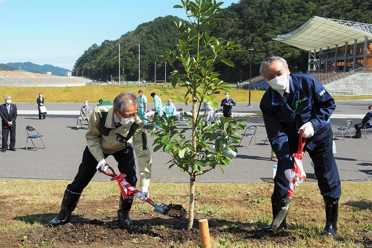 釜石鵜住居復興スタジアムで行われた感謝祭でタブノキを植える野田市長(右)ら